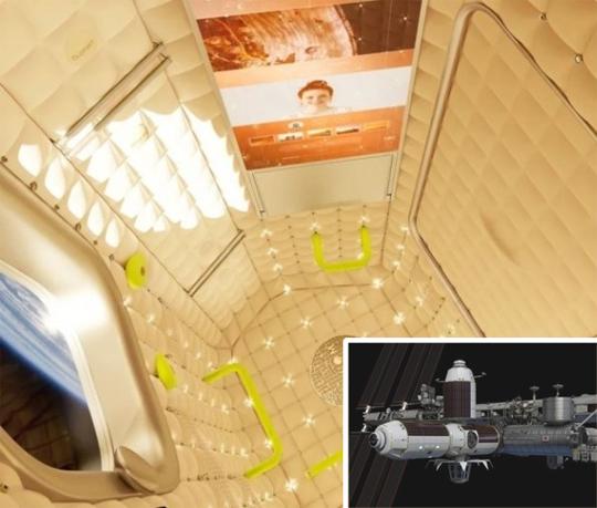 '액시엄 스페이스'가 계획하고 있는 우주호텔 모듈의 내부 모습이다. 작은 사진은 우주호텔 모듈이 국제우주정거장(ISS) 2번 노드에 연결된 상상도. 액시엄 스페이스 제공