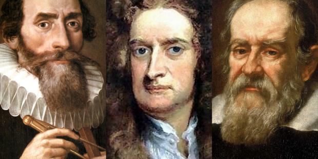 (왼쪽부터) 케플러, 갈릴레오, 뉴턴. 위키미디어 제공