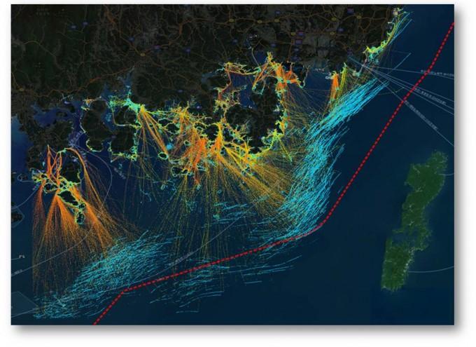 한국해양과학기술원이 개발한 빅데이터 분석 플랫폼으로 2018년 부산 및 경남 지역 선박의 이동 속도와 패턴을 분석해 지도에 나타냈다. 한국해양과학기술원 제공