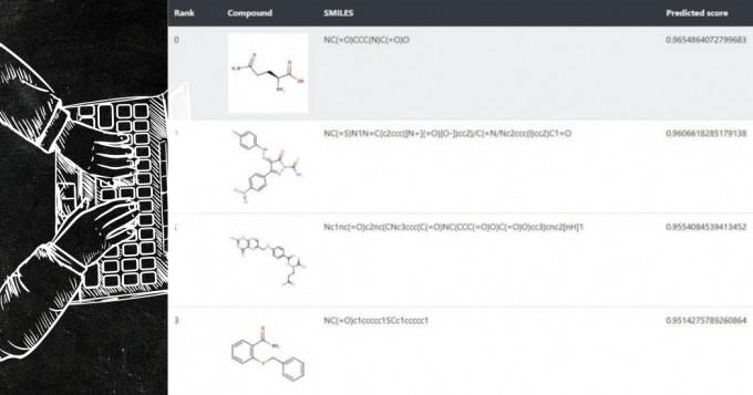 카르복시펩티데이스 B2 단백질과 상호작용할 것으로 예측된 화합물 정보가 AI 신약개발 플랫폼에 표시된 모습이다. 한국화합물은행 제공
