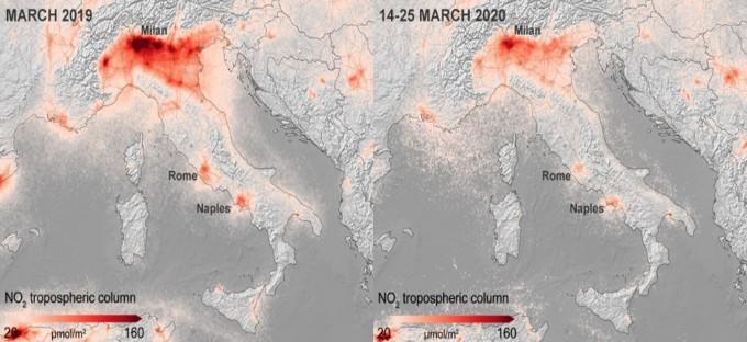 ESA의 지구관측위성 센티넬-5P 관측 데이터를 분석한 결과다. 지난해 3월 이탈리아 지역 이산화질소 농도(왼쪽)와 올해 3월 14일부터 25일까지 이탈리아 지역 이산화탄소 농도. ESA 제공.