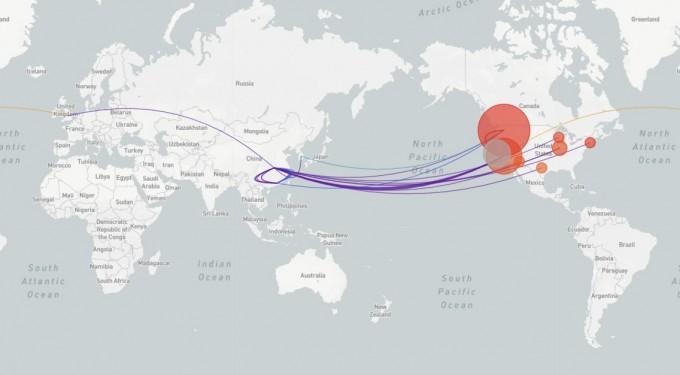 국제인플루엔자데이터공유이니셔티브(GISAID)에 입력된 각국의 코로나19 바이러스 게놈 데이터를 ′넥스트스트레인′ 소프트웨어로 분석해 미국의 바이러스 확산 과정을 표현한 지도다. 중국에서 한국을 거쳐 북서부로 건너간 바이러스도 눈에 띈다. 넥스트스트레인 제공