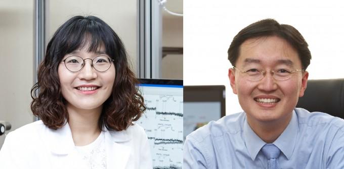 정지혜 건국대 교수(왼쪽)과 김세윤 KAIST 교수팀이 뇌 속에서 신경전달물질의 활성을 조절하는 새로운 물질의 작용 원리를 밝혔다. 한국연구재단 제공
