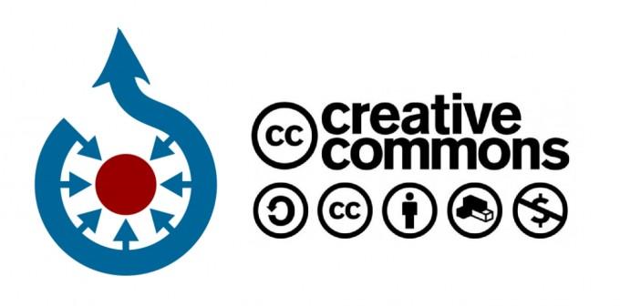 위키미디어의 커먼즈 로고(왼쪽)과 크리에이티브 커먼즈 로고