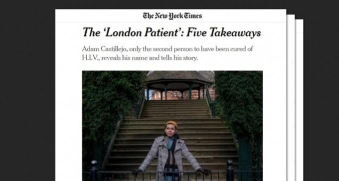 """뉴욕타임스가 사상 두 번째로 HIV 감염에서 완치된 환자를 단독 인터뷰해 9일(현지시간) 공개했다. 치료의 주인공은 인터뷰에서 """"희망의 대사가 되고 싶다""""고 말했다. 뉴욕타임스 기사 캡쳐"""