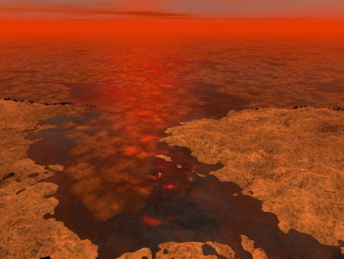 토성의 위성 타이탄은 메탄이 풍부한 호수가 있고 메탄 비가 내리는 특이한 환경을 보인다. 유기물인 메탄이 액체로 존재하고 기상현상까지 보여, 독특한 생명체가 존재할지 관심을 모은다. 미국항공우주국(NASA) 제공