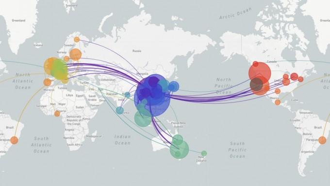 국제인플루엔자데이터공유이니셔티브(GISAID)에 11일까지 올라온 317개 코로나19 게놈 데이터를 넥스트스트레인(Nextstrain.org)에서 바이러스 변이에 따른 전파 경로를 그렸다. 전세계 바이러스의 전파 양상을 시간 순으로 정밀하게 알 수 있다. 넥스트스트레인 화면 캡쳐