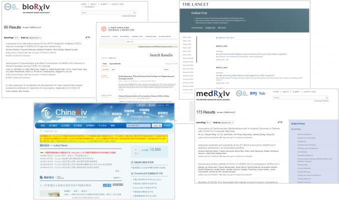 bioRxiv, NEJM, 랜싯, ChinaXiv, medRxiv 온라인사이트 캡처