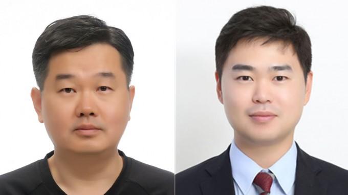 강정구(왼쪽) KAIST 신소재공학과 교수와 정형모(오른쪽) 성균관대 기계공학부 교수의 모습이다. 이들 연구팀은 이산화탄소를 에틸렌으로 변환하는 촉매의 효율을 높이는 데 성공했다. KAIST 제공