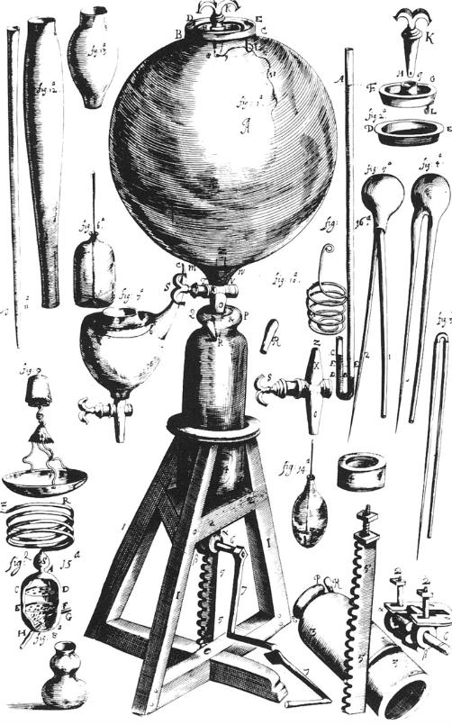 보일의 첫번째 진공펌프. 위키피디아 제공