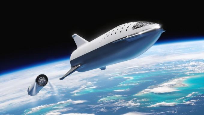 미국 민간우주회사 스페이스X가 개발 중인 재사용 로켓 스타십. 지상에서 우주로 화물을 쏘아올리는데 드는 물류비를 1kg에 13달러 수준으로 낮추는 것을 목표로 하고 있다. 스페이스X 제공