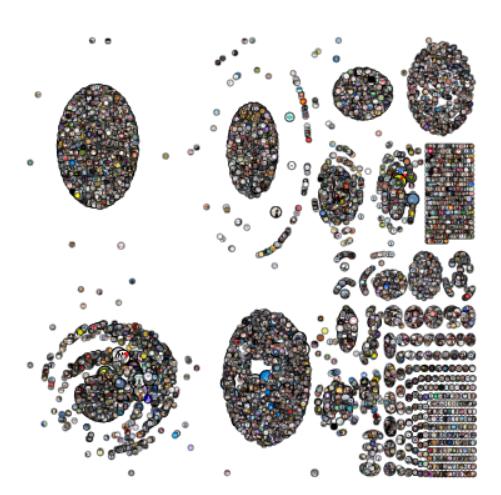 박한우 영남대 교수팀이 2월 29일 수집한 트위터 속 트윗 7만 여 개의 네트워크를 분석한 그림이다. ′코로나바이러스′ ′코로나19′ ′신천지′ ′대구′의 네 개 키워드를 이용해 수집한 트윗을 분석했으며, 이들이 각각의 의미를 통해 연결된 복잡한 네트워크망을 확인할 수 있었다. 그림에서 왼쪽 위는 마스크 절도 등 윤리 이슈를, 왼쪽 아래는 신천지 관련 이슈를, 중간 위는 의료 보건 이슈를, 중간 아래는 사각지대의 어려움과 경제적 어려움을 언급한 내용이다. 박한우 교수 제공