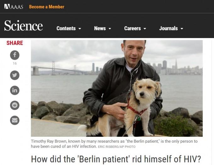 이번에 언론에 처음 모습을 드러낸 두 번째 HIV 치료 환자 애덤 카스틸레요 씨와 달리, 첫 치료자 티모시 브라운 씨는 언론에 자주 언급되고 있다. HIV 관련 연구가 나올 때에도 항상 그의 사진과 사례가 언급됐다. 사진은 과학잡지 겸 학술지 사이언스의 뉴스에 실린 티모시 브라운 씨의 모습이다. 사이언스 캡쳐