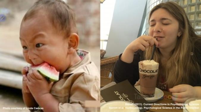 전체 사진으로 왼쪽은 아이가 전투적으로 수박을 먹고 있는 모습이고(분노와는 무관할 것이다) 오른쪽은 젊은 여성이 음료를 음미하는 모습이다(슬픔과 무관할 것이다). 리사 펠드먼 배럿 제공