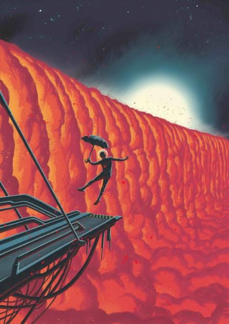 지구에서 640광년 떨어진 곳에 있는 외계행성 WASP-76b의 풍경을 스위스의 그래픽노블 작가 프레더릭 페터스(Frederik Peeters)가 상상해 그렸다. 별을 바라보고 있는 면의 온도가 2400도가 넘어 기체가 된 철이, 온도가 낮은 밤 지역에 이동해 비처럼 내리는 것으로 추정된다. 프레더릭 페터스 제공