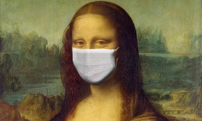 모나리자 작품에 마스크를 합성한 이미지. 픽사베이 제공