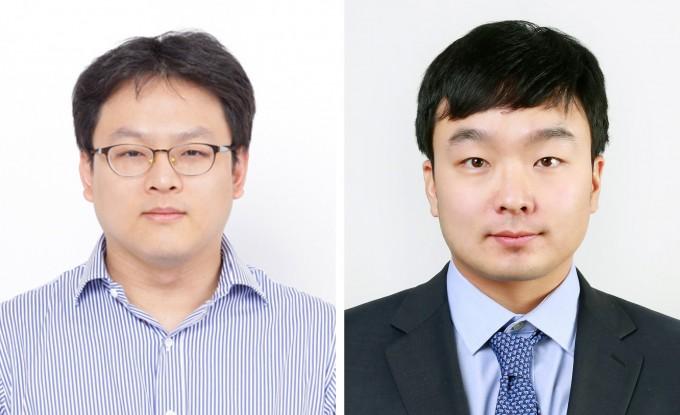울산과학기술원(UNIST) 에너지 및 화학공학부 류정기 교수(왼쪽)와 이동욱 교수 공동연구팀은 고분자 젤을 전기분해용 전극에 코팅해 수소 생산효율을 5배 높이는 기술을 개발했다. UNIST 제공
