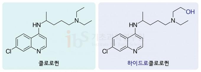 말라리아 치료제인 클로로퀸(왼쪽)과 하이드록시(하이드로)클로로퀸의 구조.  IBS 제공