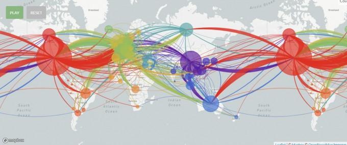 지난달 28일까지 분석된 3650개 게놈을 바탕으로 바이러스 이동을 시각화한 그림이다. 넥스트스트레인 화면 캡쳐