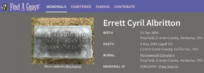 알브리톤에 관해 남은 사료는 거의 없다. 그가 남긴 책이 몇 권 있지만, 그 책들은 연구자로서 그의 전공을 기술한 교과서에 가깝다. 다행히 인터넷엔 그의 묘비 사진이 남아 있다