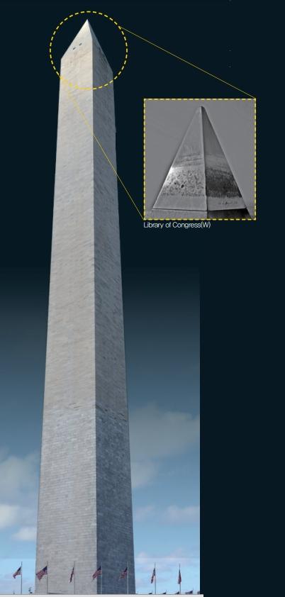 미국의 수도 워싱턴 D.C.에 있는 첨탑인 '워싱턴 기념비'. 1884년 완공된 높이 170m의 이 탑 꼭대기에는 2.6kg 짜리 알루미늄 피라미드가 씌워졌다. 그로부터 2년 후 찰스 마틴 홀이 '홀-에루 공정'을 만들면서 알루미늄의 가격이 폭락한다. Alvesgaspar/위키피디아 제공