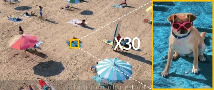 삼성전자의 갤럭시 S20 울트라의 망원 카메라를 사용하면 최대 100배 디지털 줌이 가능하다. 사진은 해변의 강아지를 30배 확대한 모습이다. 삼성전자 제공