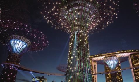 싱가포르 야경 명소인 가든스바이더베이에 있는 ′슈퍼트리′. 높이가 최고 50m나 되는 꼭대기에 태양전지가 설치돼있어 낮 동안 생산한 전기로 조명을 밝힌다. 위키피디아 제공