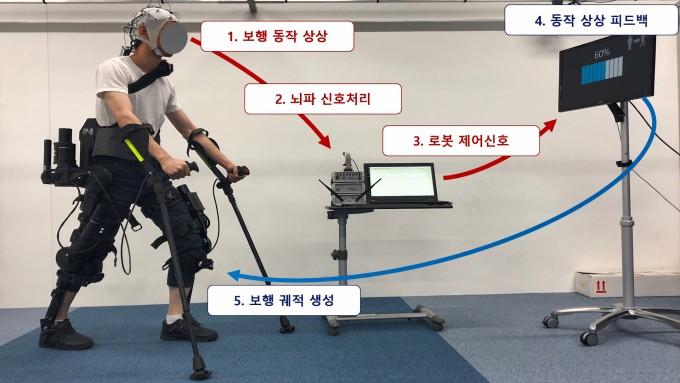 연구팀의 외골격로봇이 뇌파를 받아 움직이는 방식을 그림으로 표현했다. KIST 제공