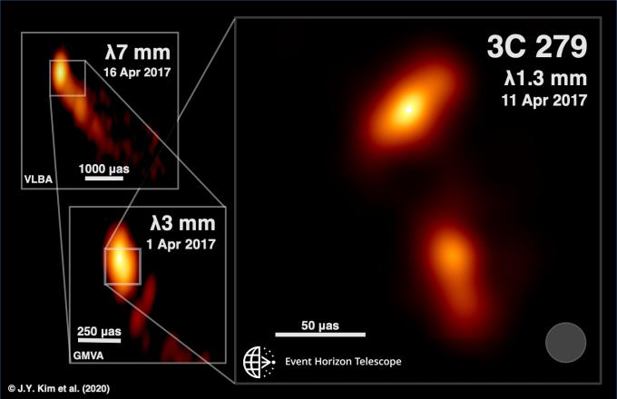 사건지평선망원경 팀이 관측에 성공한 퀘이사 3C 279의 제트 모습이다. 왼쪽 위부터 점점 확대되는 모습을 담았다. EHT 제공
