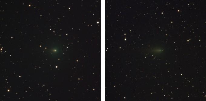 3월 30일 관측된 아틀라스 혜성은 상대적으로 밝기가 밝았지만, 4월 17일 관측된 아틀라스 혜성은 어두워졌다. 천문연 제공.