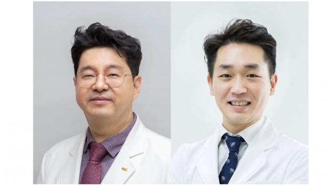 김범준(왼쪽)∙유광호(오른쪽) 중앙대병원 피부과 교수팀이 특수 천 이용해 피부 약물 전달 효과 높일 수 있다는 연구결과를 내놨다. 중앙대병원 제공