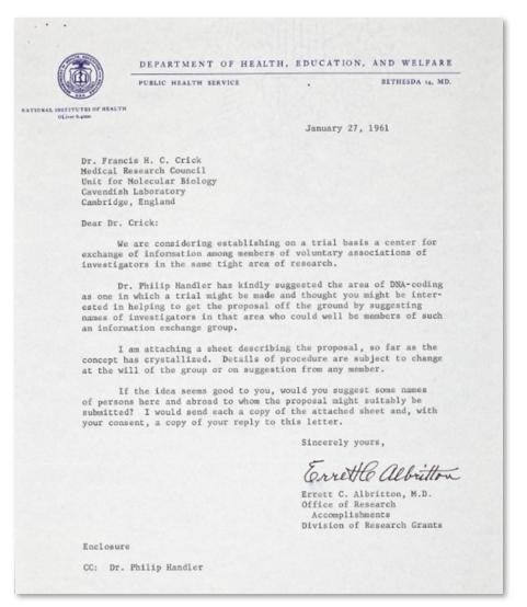 알브리톤이 프랜시스 크릭에게 보낸 편지. 출처 Cold Spring Harbor Laboratory Archive