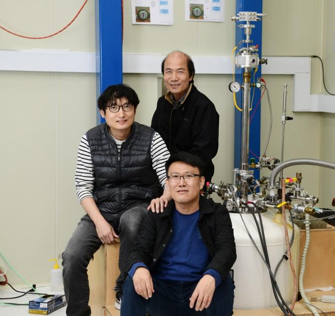 김완섭,박재성,채동훈 책임연구원(위쪽부터)이 저항표준 정밀측정시스템을 선보이고 있다. 한국표준과학연구원 제공