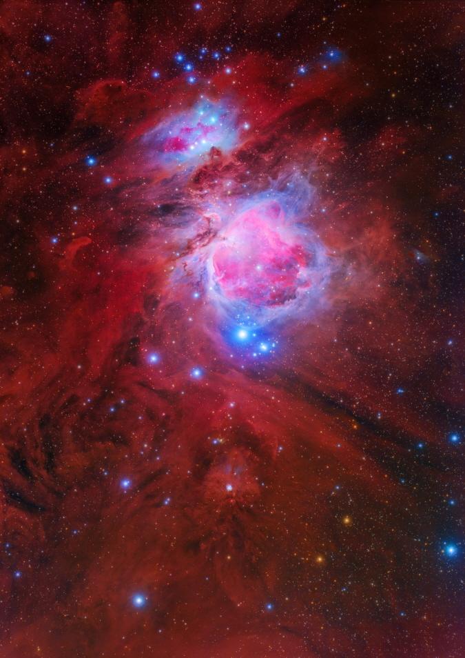최우수상 수상작인 오리온대성운(공양식). 밤하늘의 대표적인 성운인 오리온 대성운과 주변의 오리온 분자구름 복합체(Orion Molecular Cloud Complex)가 잘 표현되도록 촬영했다. 천문연 제공