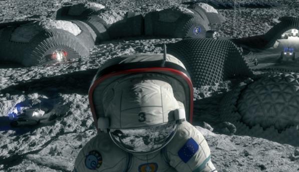 트로일라이트는 운석에서 주로 발견되는 황화철(FeS) 광물이다(오른쪽). 트로일라이트가 달 기지 건설 소재로 주목받는 가운데, 트로일라이트가 온도에 따라 자성을 띠거나 전기를 흘린다는 사실이 확인됐다. 사진은 달 기지 상상도다. ESA 제공