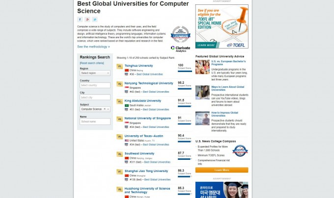 미국 US뉴스가 선정하는 전 세계 컴퓨터공학 순위. 10위권 내 4개 학교가 중국 대학이다. 미국 US뉴스 홈페이지 캡쳐