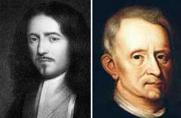 마르첼로 말피기(1628~1694)와 로버트 훅(1635~1703)