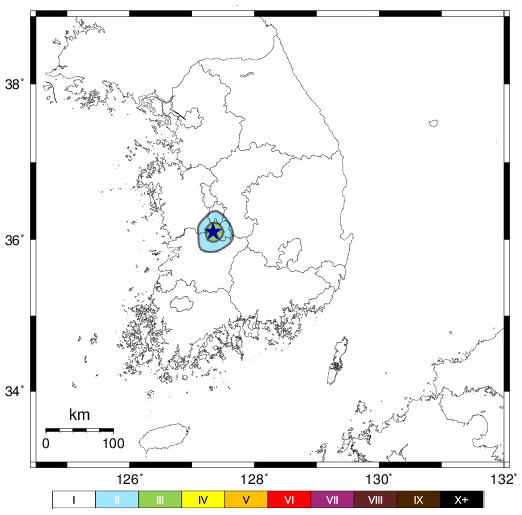 이달 13일 발생한 규모 2.8 지진의 진도를 지도에 표시했다. 기상청 제공