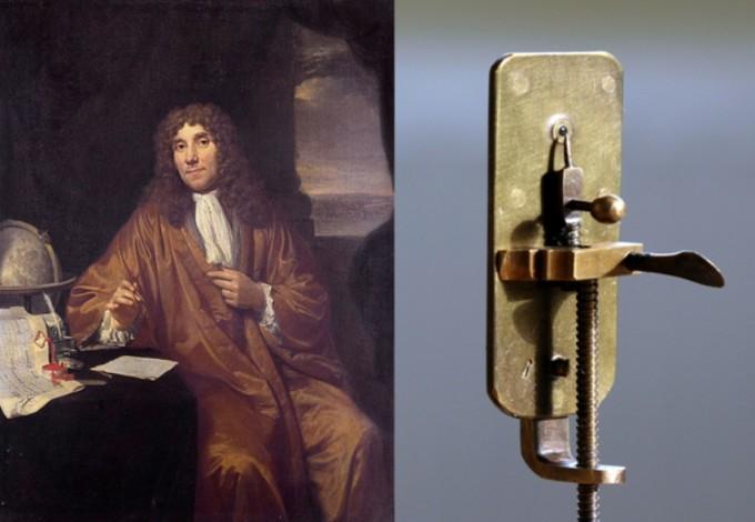 안톤 판 레이우엔훅 (1632~1723)은 자시의 정액을 직접 현미경으로 관찰한 것을 유명하다. 왼쪽은 그가 만든 현미경. 위키피디아 제공