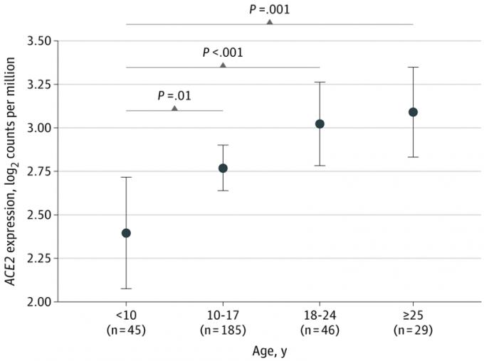 연구팀은 2015~2018년 사이에 마운트시나이의대병원에서 치료를 받은 4~60세의 환자 305명의 검체를 이용했다. 그 결과 10세 미만은 ACE2 전사체(전령RNA)가 전체 전사체 100만 개 가운데 5.3개 꼴로 검출됐는데(2.40 log2TPM), 10~17세에는 6.8개(2.77log2 TPM)가 검출됐다. 반면 18~24세에는 8.1개(3.02 Log2TPM), 25세 이상에서는 8.5개(3.09 Log2TPM) 발견됐다. JAMA 논문 캡쳐