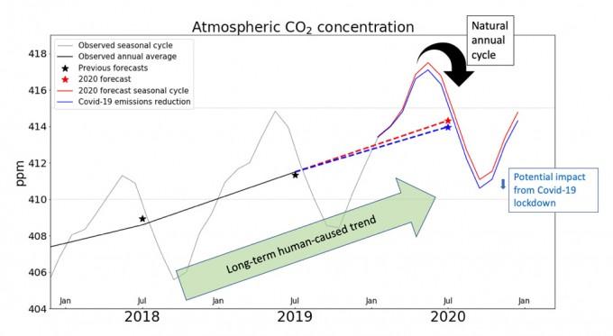코로나19로 인해 인류가 배출하는 이산화탄소량이 줄었으나 이산화탄소 농도 상승을 조금 줄여줄 뿐 상승 자체는 막지 못하는 것으로 나타났다. 붉은 선이 코로나19 영향을 제외한 2020년 이산화탄소 농도 예측량이고, 푸른 색이 코로나19를 반영한 이산화탄소 농도 예측치다. 카본 브리프 제공