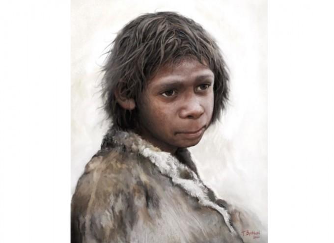 핀란드의 고인류 예술가 톰 뷔요클룬트가 그린 9세 네안데르탈인 어린이의 복원도다. 네안데르탈인은 발굴과 연구가 진행될수록 현생인류와 거의 다를 바 없는 생활을 했던 것으로 밝혀지고 있고 현생인류와 혼혈도 이뤄진 것으로 밝혀졌다. 지구에서는 약 4만 년 전 사라졌다. 최근 코로나19 게놈을 연구하는 학자들이 중증 코로나19와 관련 있는 유전자 영역을 네안데르탈인으로부터 약 5만 년 전 물려 받았다는 주장이 나왔다. 위키미디어 제공