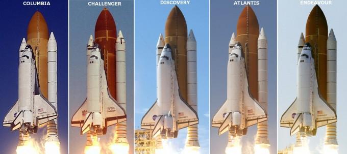 미국이 우주왕복선 임무에 사용했던 우주왕복선 5대의 모습이다. 이중 챌린지호와 컬럼비아호는 각각 1986년과 2003년 폭발 사고를 당했다. NASA 제공