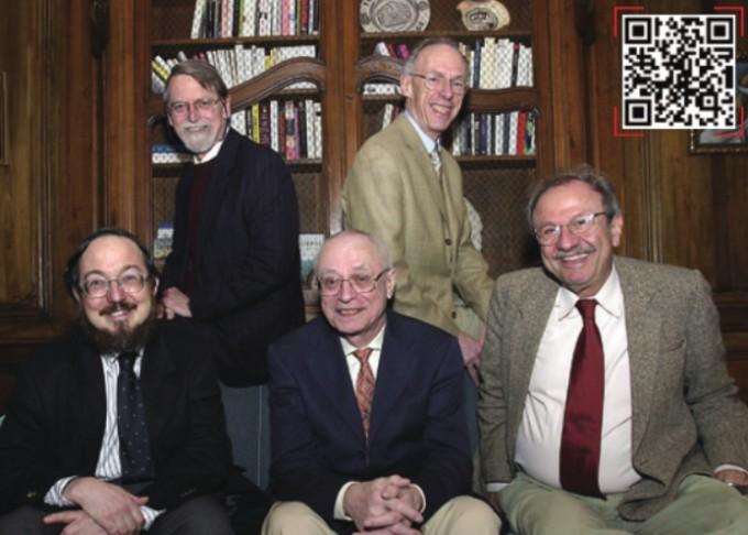 데이비드 멈퍼드 교수(윗줄 왼쪽)가 세계적인 수학자들과 함께 찍은 사진. 윗줄 오른쪽부터 시계방향으로 에를링 스퇴머, 자코브 팔리스, 장 피에르 세르, 돈 재기어다.