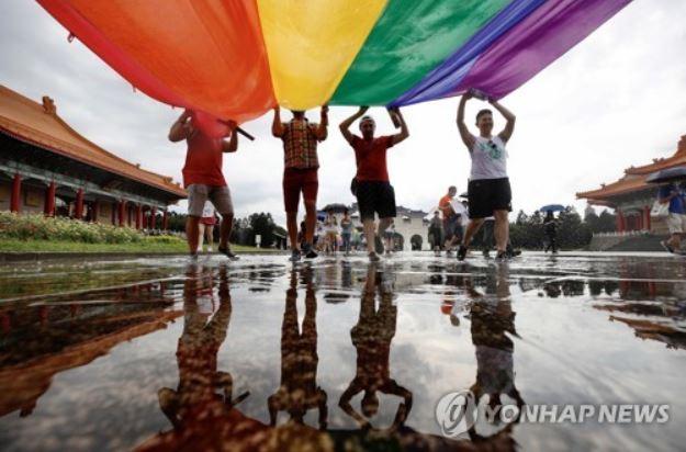 대만 LGBT 행진 행사에 참여한 사람들. 연합뉴스 제공