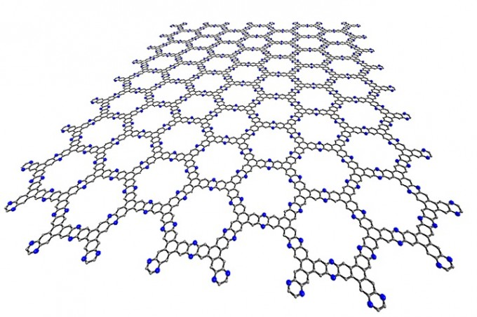 탄소 원자가 6각형 모양을 이룬 고리가 4개 모여 삼각형 형태를 이룬 분자 ′트리페닐렌′을 모아 다시 6각형 벌집 구조를 이룬 고분자 물질이 개발됐다. 저렴하고 쉽게 유기반도체 소재로 활용할 수 있을 것으로 기대된다. IBS 제공
