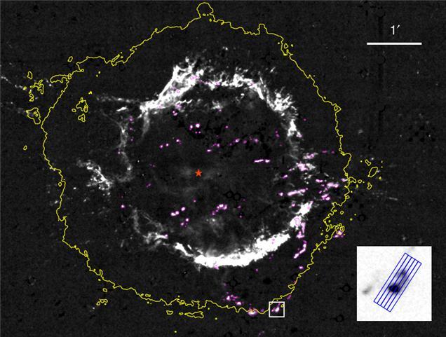 Cas A 1.644 μm 선 영상이다. 붉은 별표시는 폭발 중심 위치를  나타내고, 바깥쪽의 노란색 선은 전파에서 보이는 초신성 잔해의 경계를 나타낸다. 보라색으로 표시된 덩어리들이 선조성에서 방출된 고밀도 성변물질 덩어리들이다. 아래쪽 흰 박스로 표시된 천체가 이번 연구에서 순수 성변물질이 발견된 QSF 24이다. 오른쪽 아래 박스는 QSF 24의 확대 사진으로 IGRINS 관측 슬릿의 위치가 표시돼 있다. 서울대 제공
