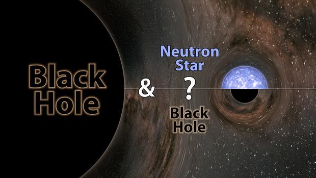 왼쪽은 태양 질량의 23배인 블랙홀을 형상화했다. 이와 충돌한 짝별의 존재가 이번에 밝혀지지 않았다. 태양 질량의 2.6배로, 기존에 관측되던 중성자별보다 무겁고, 블랙홀보다는 가볍다. 지금까지 관측된 가장 무거운 중성자별이거나, 가장 가벼운 블랙홀일 것으로 추정된다. 중성자별일 경우 이 충돌 현상은 최초로 관측된 블랙홀-중성미자 쌍성의 충돌 병합 현상이 된다. 라이고 과학협력단 제공