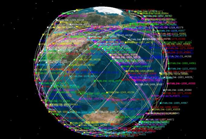 이달 22일 기준 지구 상공에 떠 있는 스타링크 위성을 STK 프로그램을 통해 지구 위에 표시했다. 한국천문연구원 우주위험감시센터 제공