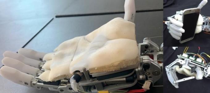 박형순∙김택수 KAIST 기계공학과 교수팀이 개발한 인공피부. 실리콘 소재로 사람의 피부 구조를 본 떠 손바닥 피부처럼 물체가 미끄러지지 않도록 했다. 한국연구재단 제공
